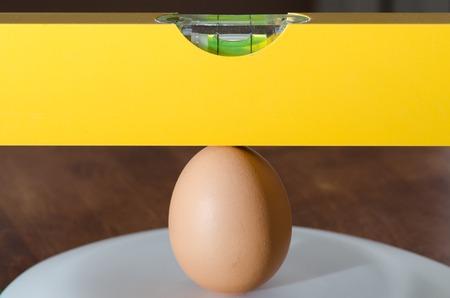 waterpas ligt volledig vlak op het ei