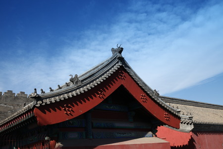 bluesky: Close up of an ancient architectural building roof design