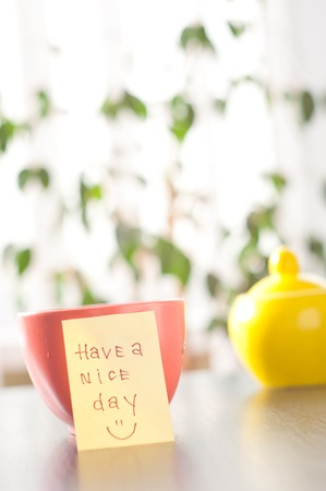 have a nice day with smile and coffee photo