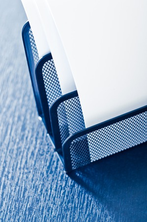 secretary tray: Metal tray on the table with white letter