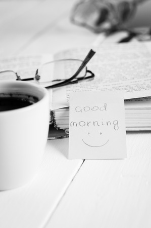 happyness: good morning with smile and cup coffe. Stock Photo