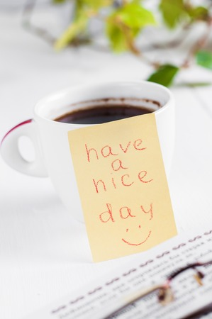 nice smile: have a nice day with smile and cup coffe.