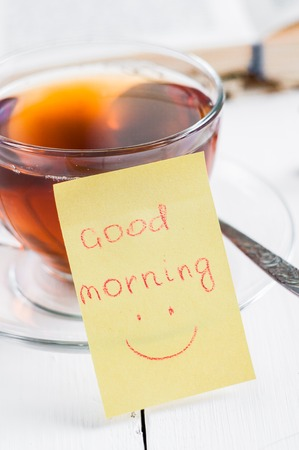 happyness: good morning with smile and cup tea. Stock Photo