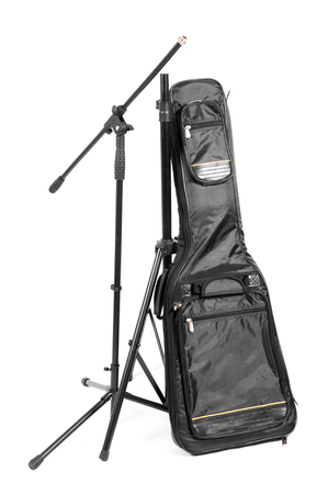 guitar case: Guitar case and stand for microphone isolated on the white background.