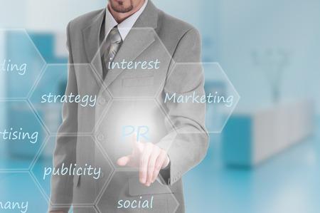 pr: Business intelligence concept man pressing selecting PR. Stock Photo