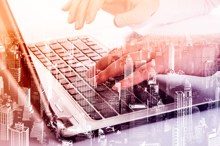 technology: Tecnología moderna Doble exposición como concepto con ordenador portátil.