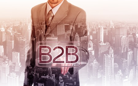 hand press: Businessman hand press web button b2b icon.