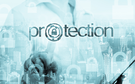 technology and internet concept - businesswoman pressing protection button on virtual screens.