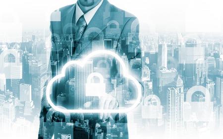 Cloud computing concept man selecting virtual interface. 스톡 콘텐츠