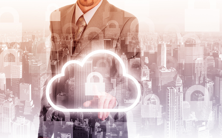 selecting: Cloud computing concept man selecting virtual interface. Stock Photo
