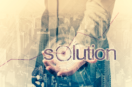 hands solution: Business concept - the solution for high statistics. Double exposure.