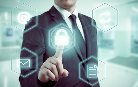 pressing: Business intelligence concept man pressing selecting data protection.