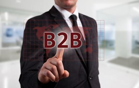 pressing: Business intelligence concept man pressing selecting B2B.