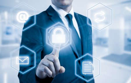 Business intelligence concept man pressing selecting data protection.