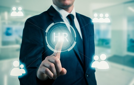 human icons: Hand pointing to businessman icon-HR, recruitment and chosen concept. Stock Photo