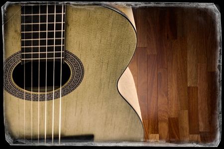 wood staves: fragment of acoustic guitar. Processing in vintage style. Stock Photo
