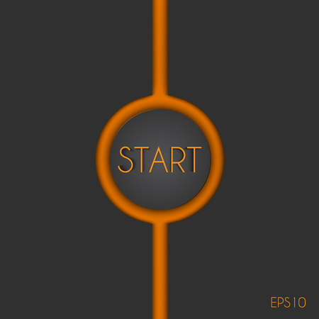 start button: The start button with the orange crack on a gray background