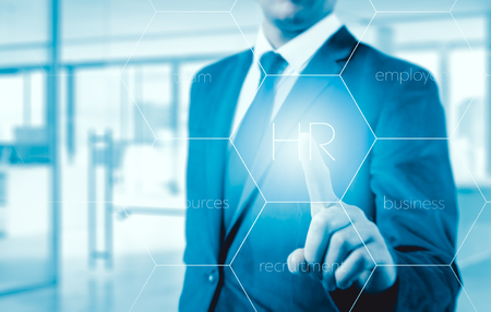 chosen: Hand pointing to businessman icon-HR, recruitment and chosen concept. Stock Photo