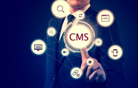 content: The concept of cms content management system website administration.