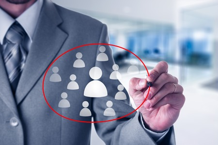 choose person: Human resources, assessment center and social media concept. Businessman choose person represented by icon. Gender discrimination in employees selection Stock Photo