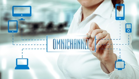 retailing: The concept of Omnichannel between devices to improve the performance of the company. Innovative solutions in business.