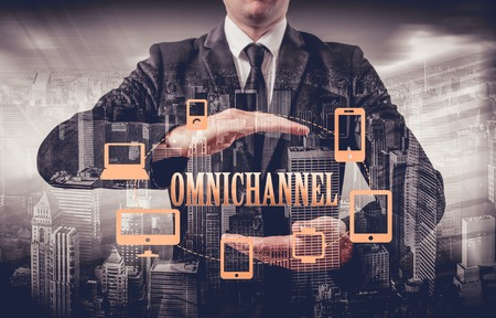 media distribution: The concept of Omnichannel between devices to improve the performance of the company. Innovative solutions in business.