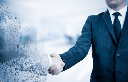 Handshake. The concept is not a reliable partner in business. The effect of the collapse. 스톡 콘텐츠