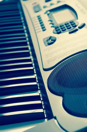 hymnal: Key electronic piano closeup. close frontal view. Stock Photo