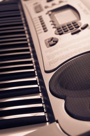 piano closeup: Key electronic piano closeup. close frontal view. Stock Photo