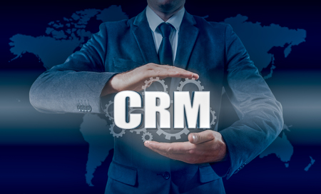 selecting: Customer relationship management concept man selecting CRM Stock Photo