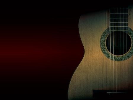 fingerboard: Part of a orange acoustic guitar on black background