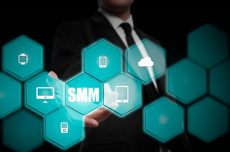 Business, technology, internet and networking concept. SMM - Social Media Marketing on the virtual display