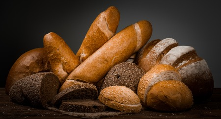Fresh fragrant bread on the table. Food concept.