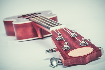 fragment of acoustic guitar. Processing in vintage style. Stock Photo