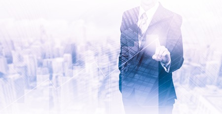 Business concept the companys growth and increase statistics. A successful leader. Double exposure.
