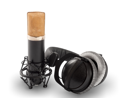 cardioid: Headphones and condenser microphone isolated on the white background.