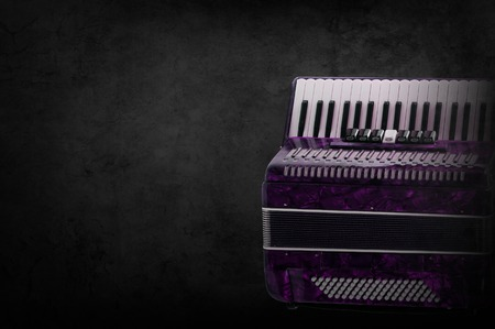 Part pink accordion on wooden grey background. Write text. Stock Photo