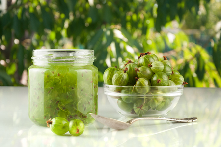Gooseberry smoothie in a jar on a brown table and background of green leaves. Stock Photo