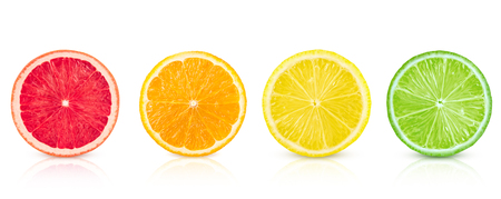 Isolated citrus. Fresh fruits sliced in a row on a white background