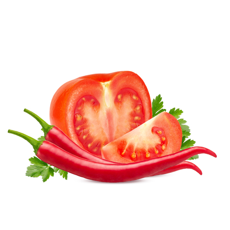 Tomatoes and red hot chili pepper isolated on white background. Reklamní fotografie - 112821889