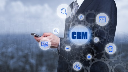 CRM Customer Relationship Management Business Internet Techology Concept. Banco de Imagens