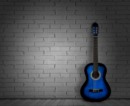 acoustic guitar white background wall shadow