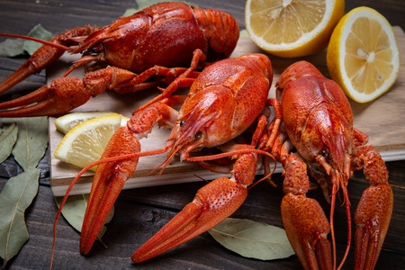 Crayfish. Red boiled crawfishes on table in rustic style, closeup. Lobster closeup Imagens