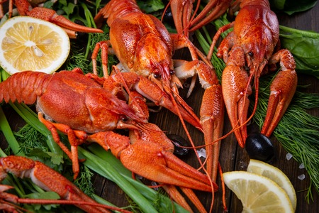 Crayfish. Red boiled crawfishes on table in rustic style, closeup. Lobster closeup.