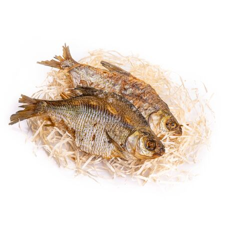 Fish dried ram it is isolated on a white background Stok Fotoğraf
