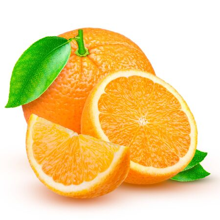 fresh orange isolated on a white background.