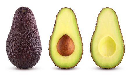 Brown avocado with avocado leaves on a white background 스톡 콘텐츠