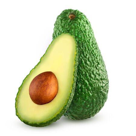Fresh avocado fruits isolated on white background.