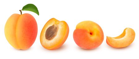 Isolated apricot. Fresh cut apricot fruits isolated on white background, with clipping path 스톡 콘텐츠