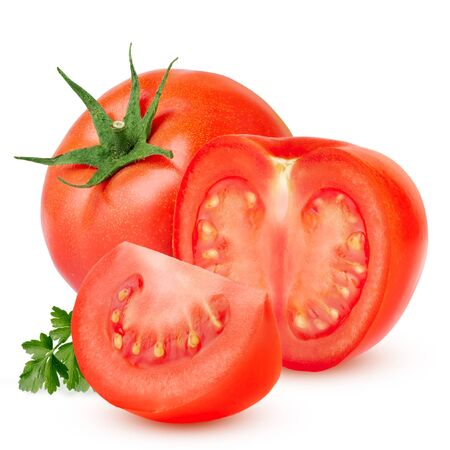 red tomato isolated on white background with clipping path.
